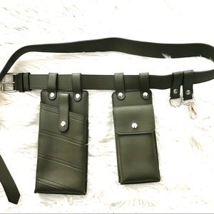 Khaki Green Faux Leather Utility Waist Belt